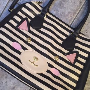 Luv Betsey by Betsey Johnson Striped Cat Tote Bag